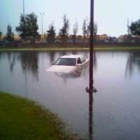 car during a flood