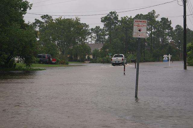 Tropical Storm Fay floods Florida road in 2008. Photo: ajmexico