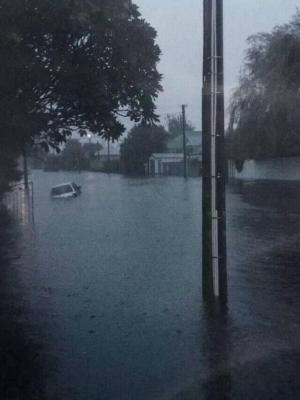 A flooded road in Christchurch, New Zealand, after the heaviest rainfall in 40 years hit the city. Photo: CharlotteRyanNZ