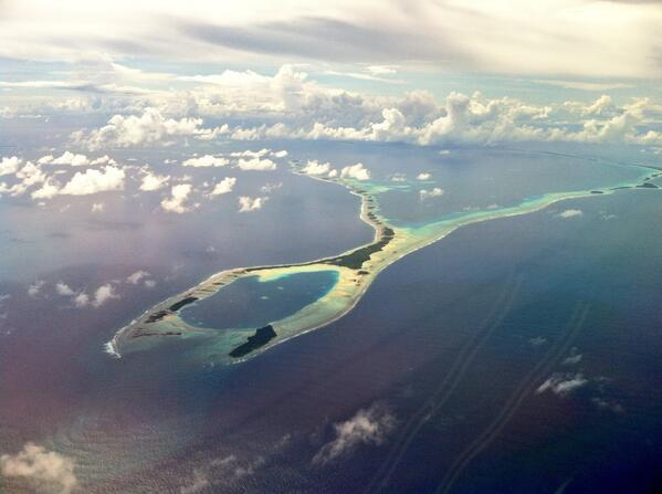 Marshall Islands from the air shows just how vulnerable the area is to sea level rises. Photo: laurala @ twitter.com