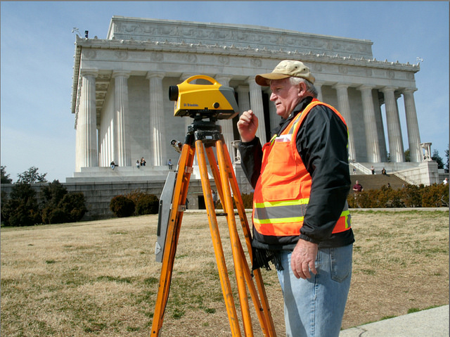 Surveying at the Lincoln Memorial. Photo by  NOAA