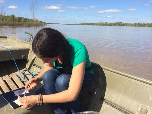Testing water contamination, beni, Bolivia, June 2014. Photo: Mariel Cabero Ugalde