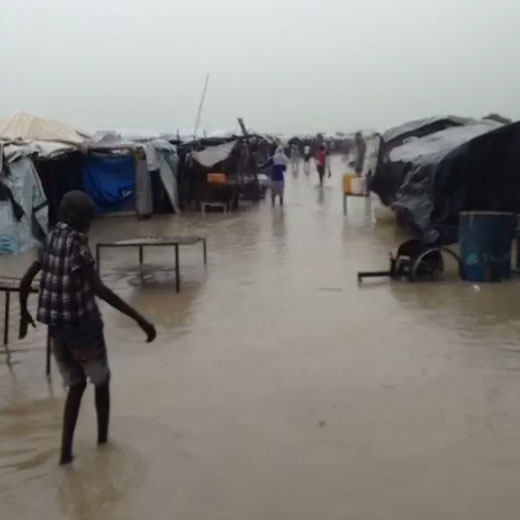Bentiu refugee camp under water. Image taken from video by CARE International