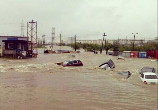 Floods in Maagadan, Russia, July 2014. Photo: Alexey B Kurkino @ twitter