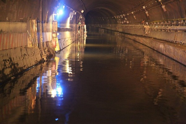 Flooded New York Subway track in 2012. Photo: MTA New York City Transit / Leonard Wiggins