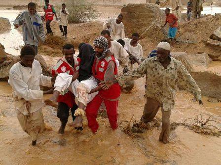 IFRC  Sudanese Red Crescent  Northern State, Sudan. August 2014. Volunteers from the Sudanese Red Crescent are engaged in search and rescue as well as evacuation activities in the affected areas.