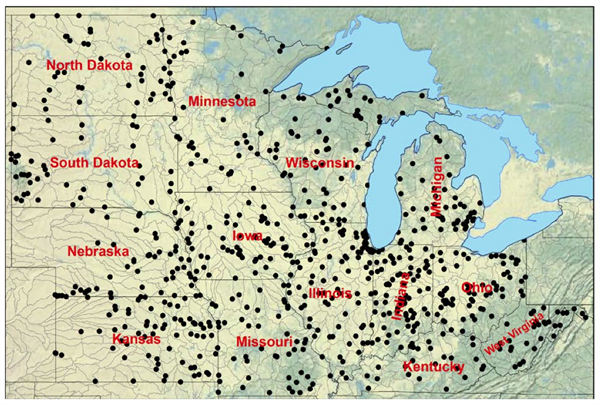 Map showing the 774 US Geological Survey stations used in this study. Source: Mallakpour & Villarini (2015)