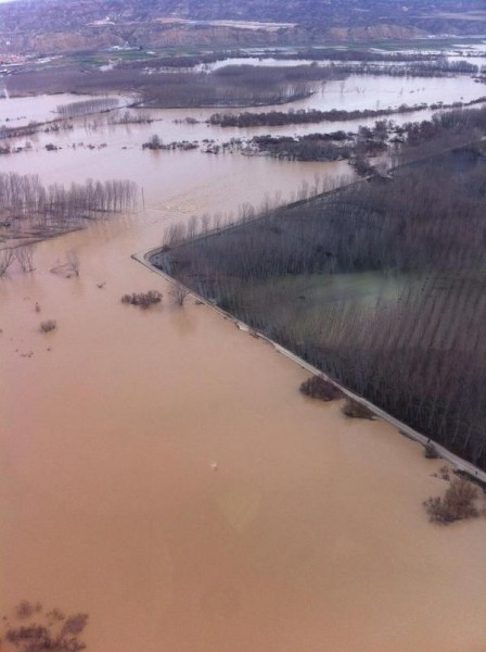 Ebro floods from the air, March 2015. Photo: UME