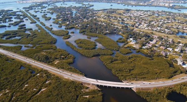 "Natural ""green barriers"" help protect this Florida coastline and infrastructure from severe storms and floods. (Credit: NOAA)"