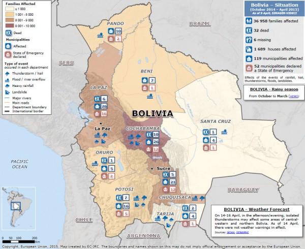 Map Bolivia floods 2015