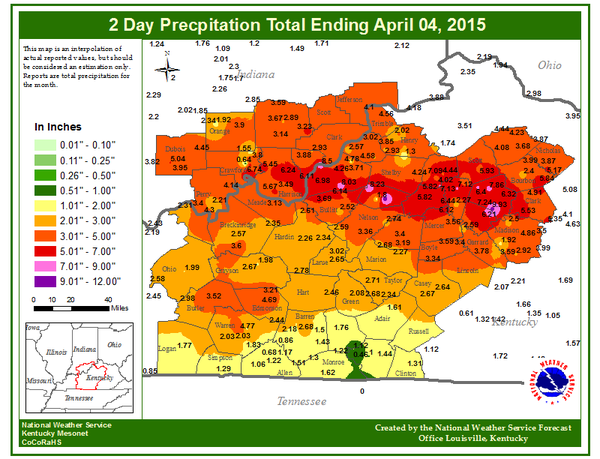 rainfall totals kentucy