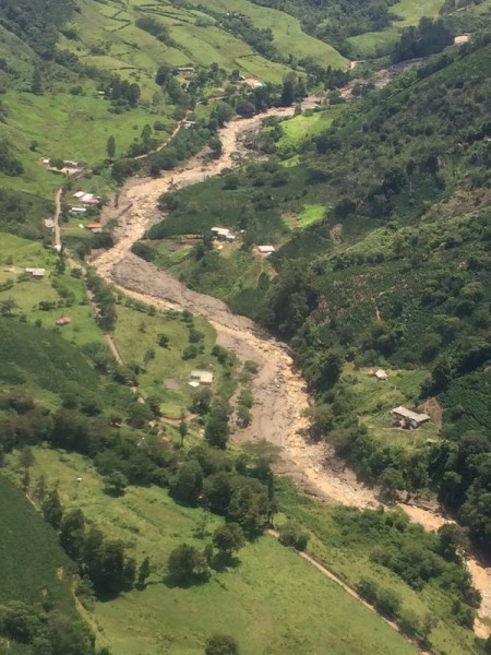 Affected area from the air. Salgar, Colombia landslide, 18 May 2015. Photo: Gobernacion Antioquia