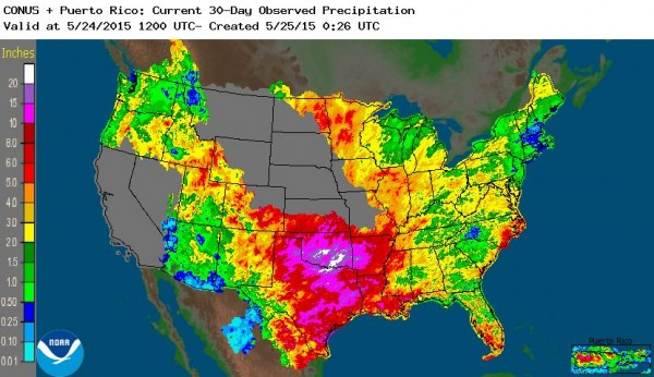 Rain totals in May 2015 in USA - 30-Day Observed Precipitation as of 24 May 2015. Image: NOAA