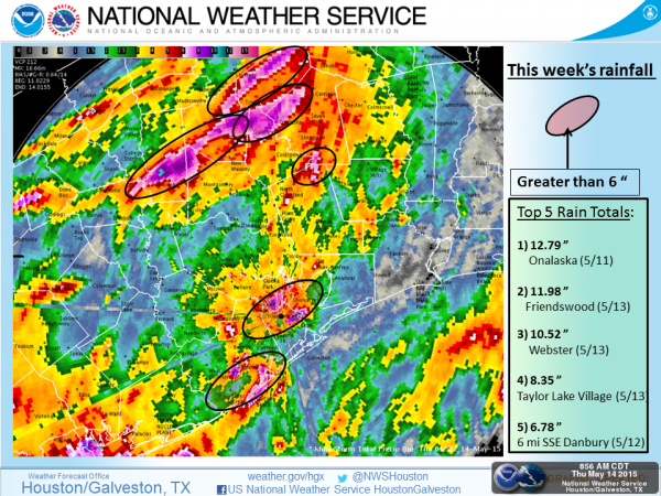 Extreme Rainfall Levels in Southern Texas, 11 to 14 May 2015. Image NWS / NOAA