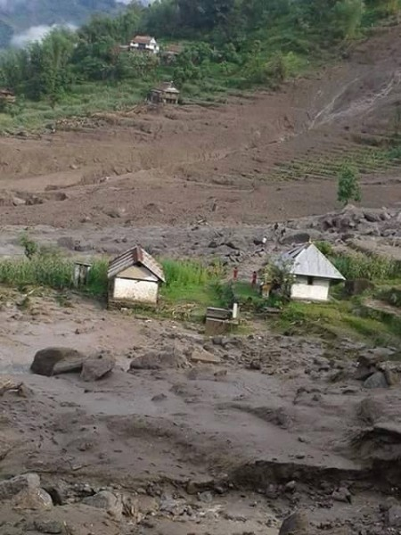 Area affected by landslide in Taplejung district, Nepal. Photo: Nepal Police
