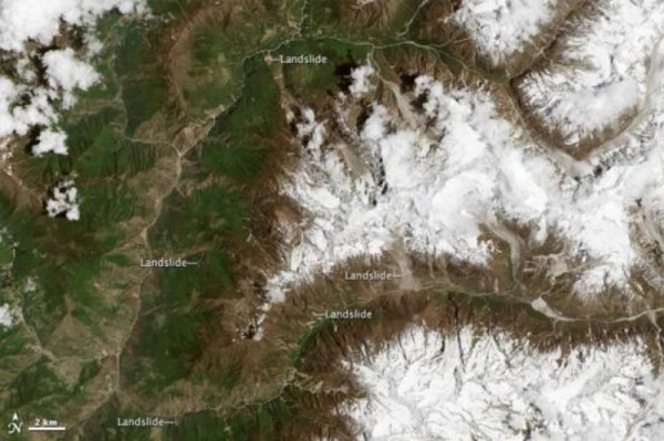 Satellite map of landslides in Nepal. Image: NASA