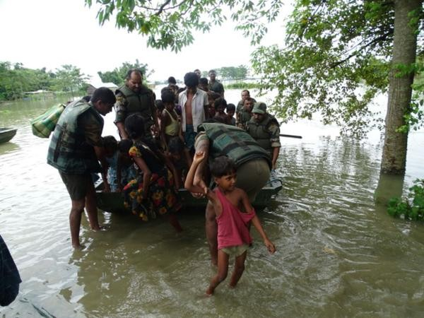 Indian Army carrying relief and rescue operations for flood victims in Assam, India. Photo: India MoD