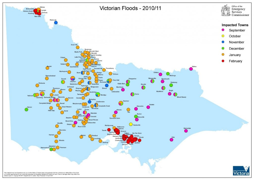 Australia Reflections On The Floods In Victoria - Map of victoria australia with towns