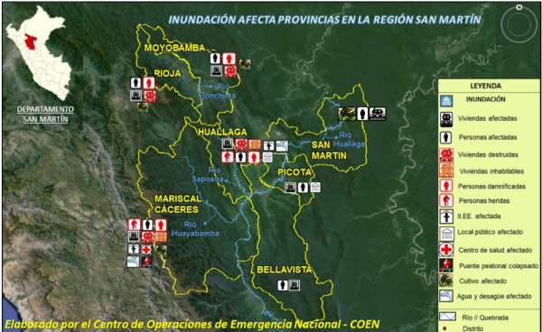 Flood-affected areas in San Martin, Peru, December 2015. Image: INDECI