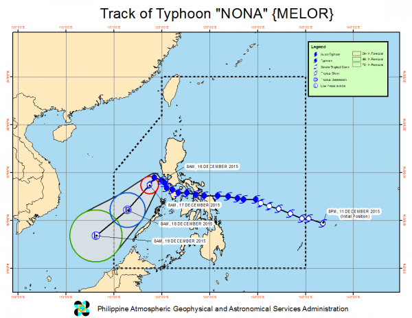 Track of Typhoon Melor, known locally as Nona, in the Philippines, 12 to 16 December 2015. Image: PAGASA