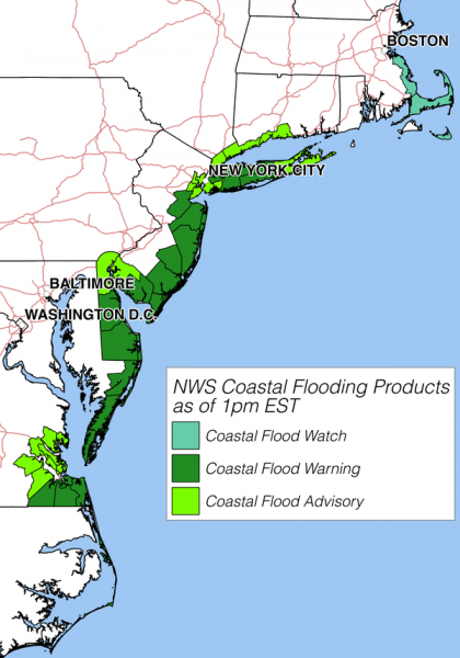US Coastal flood warnings, 23 January 2016. Image: NOAA