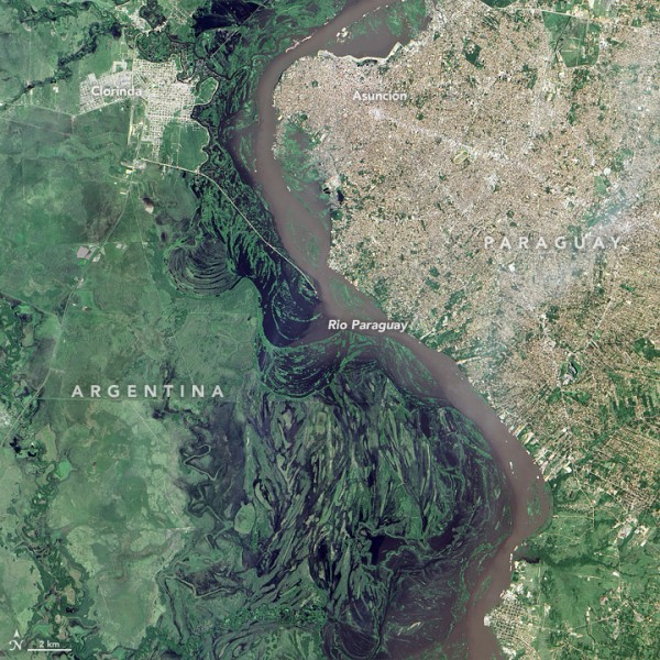 Floods from the Paraguay River, 12 January 2016. Image: NASA
