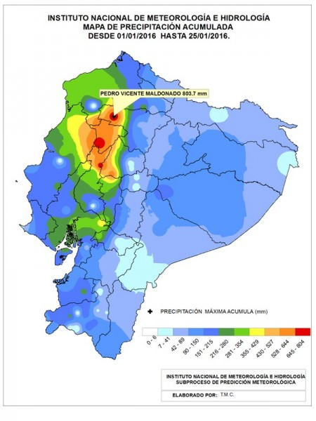 Rainfall for January 2016 in Ecuador. Image: INAHMI