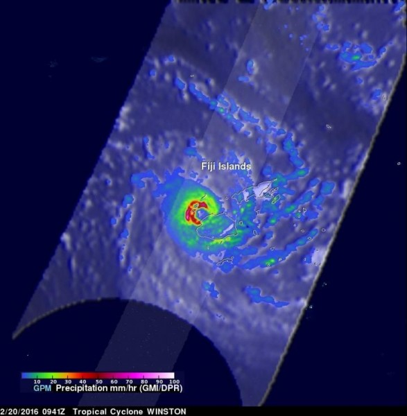 On Feb. 20, 2016 at 0941 UTC (4:41 a.m. EST), the GPM core satellite saw that Winston was dropping rain at a rate of over 169 mm (6.7 inches) per hour in the western side of the eye. Credit: NASA/JAXA/Hal Pierce