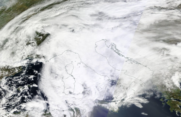 Terra Satellite (NASA) image of the severe weather affecting Italy