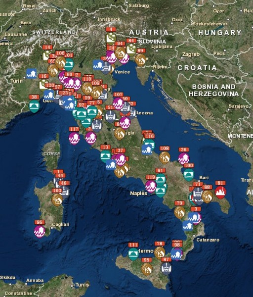 Map of areas in Italy affected by extreme weather events between 2010 and 2015. Image: Legambiente