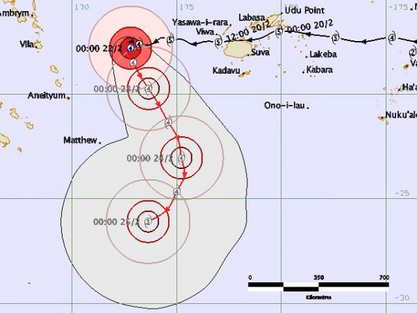 Expected path of Tropical Cyclone Winston. Image: Fiji Meteorological Service