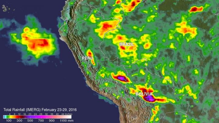 Caption NASA's IMERG data collected from Feb. 23-29, 2016, were used to estimate rainfall totals over this area of South America. The highest rainfall total estimates for this period were over 700 mm (27.6 inches). These extreme rainfall total estimates were shown east of the Andes in southeastern Peru and Bolivia. Credits: ASA/JAXA/SSAI, Hal Pierce