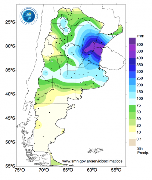 Cumulated Rain [mm] from 1 April 2016 until 20 April 2016. Image: Servicio Nacional de Meteorológia, Argentina