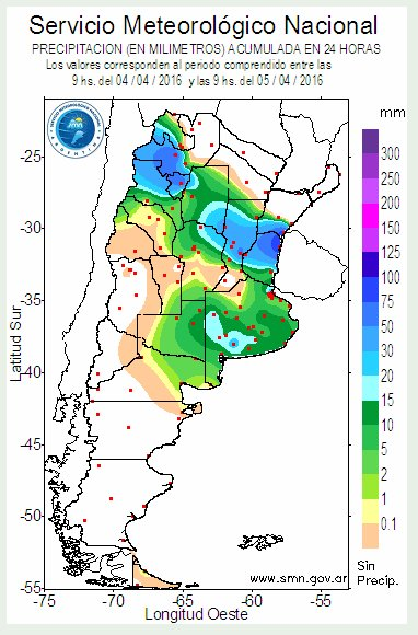 Rainfall map for Argentina. Image: