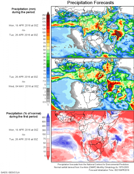 rainfall forecast africa april 2016