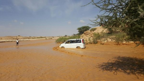 Key highway flooded in Somalia after 75mm of rain in May 2016. Photo copyright: Maryama Dayib