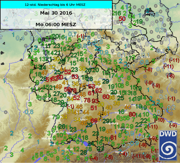 Rainfall levels in Germany for 12 hour period,  29 to 30 May 2016. Image: Deutscher Wetterdienst