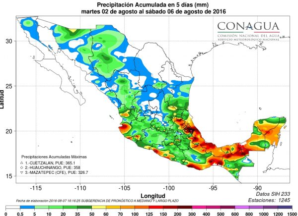 Cumulated rain from 02 August to 06 August in Mexico. Image: