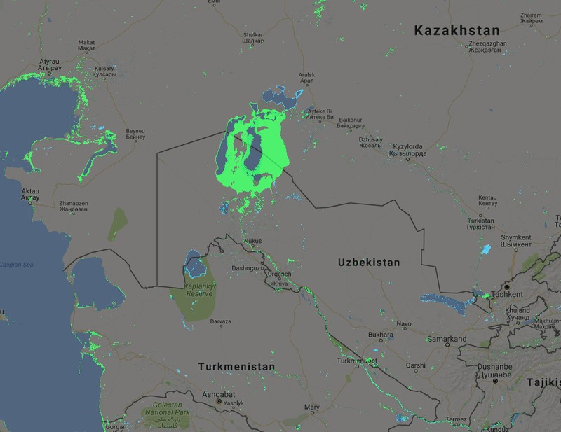 The disappearing Aral Sea, Kazakhstan - Uzbekistan, as seen by the Aqua Monitor over the last 30 years.