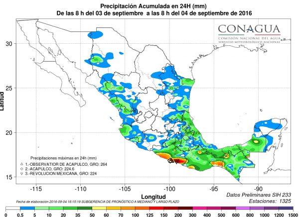 Cumulated rainfall from 03 to 04 September, 2016. Image: CONAGUA