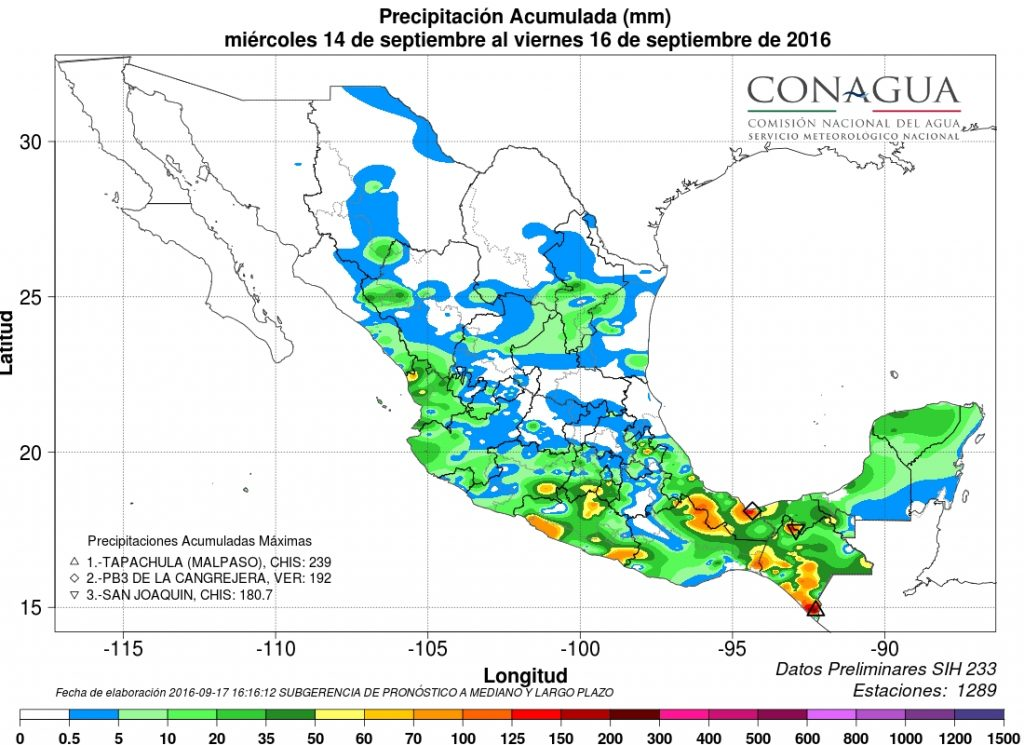 Accumulated rainfall in Mexico from 14 to 16 September, 2016