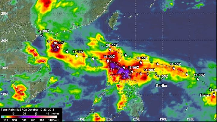 NASA's IMERG estimated rainfall from typhoons Sarika and Haima during the period Oct. 12-20, 2016. IMERG data indicated that over 19.7 inches (500 mm) of rain fell over central Luzon during this period. Sarika and Haima's locations are shown in white on this rainfall analysis. Credit: NASA/JAXA; Hal Pierce
