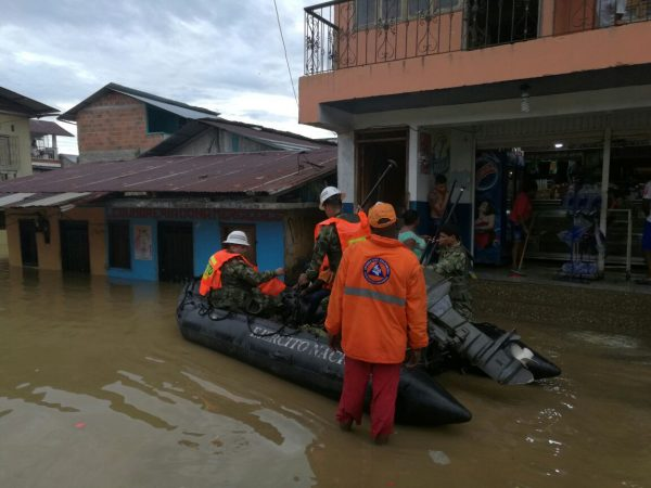 Colombia Army and Civil Protection workers assist flood hit communities in Choco. Photo;