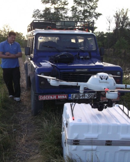 ICARUS and partners setting up their multi-rotor UAV to inspect flooding. Credit: ICARUS.