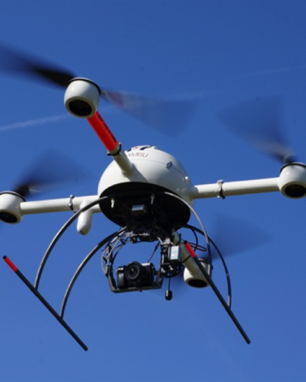 The Microdrone multi-rotor UAV with camera and gimbal in flight. Credit: ICARUS.