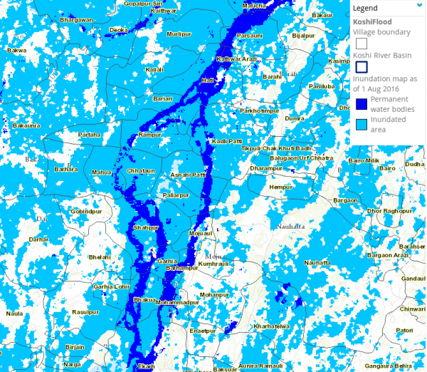 Map showing flooded areas in Saharsa district, Bihar, as of 01 August 2016. Image: ICIMOD