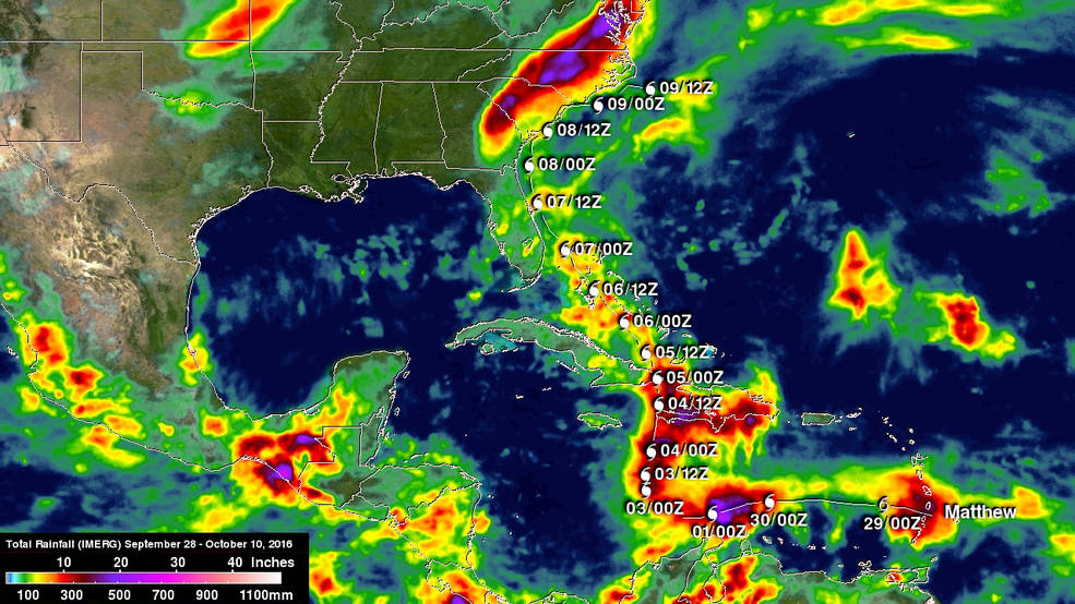 Nasa Monitors Rainfall Totals From Hurricane Matthew
