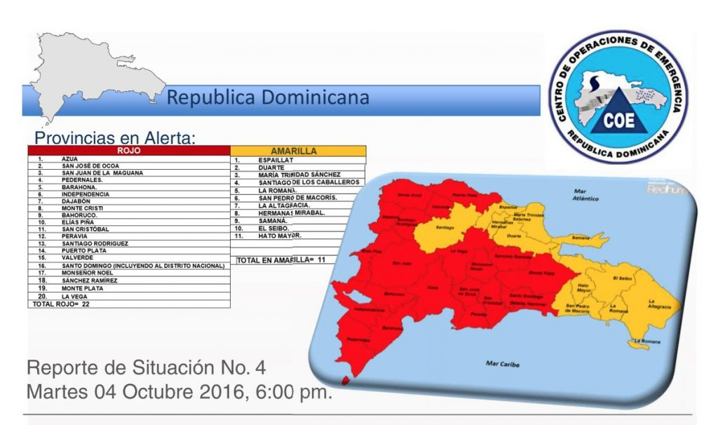 Red level warnings issued in the Dominican Republic. Image: