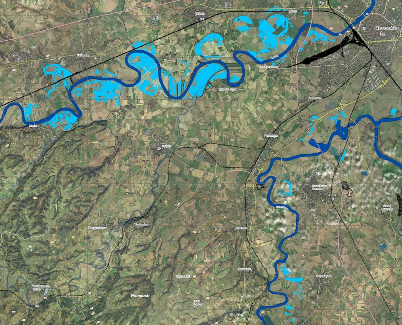 Map of flooded areas of Alessandria, Piedmont, Italy, November 2016. Image: Copernicus