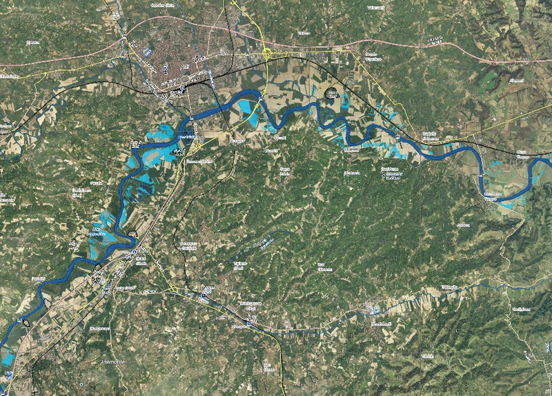Map of flooded areas of Asti, Piedmont, Italy, November 2016. Image: Copernicus